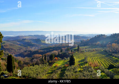 Landscape view of San Gimignano in the province of Siena, Tuscany.  Countryside of the medieval hill town southwest - Stock Photo