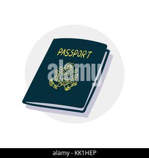 American passport icon - Stock Photo