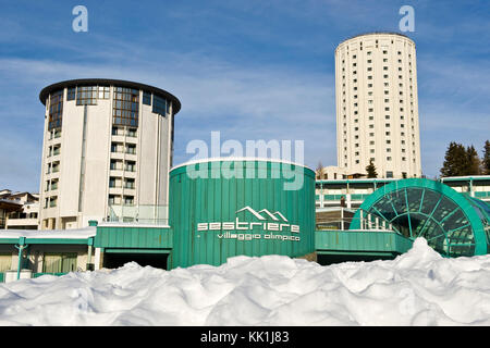 Olympic village, Sestriere, Turin province, Piedmont, Italy - Stock Photo