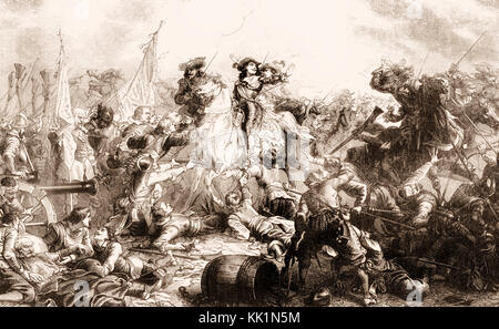 The Battle of Rocroi of 19 May 1643, Franco-Spanish War - Stock Photo