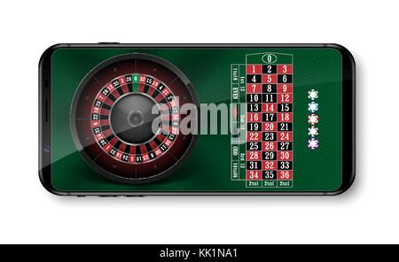 Realistic casino roulette wheel with chips isolated on green table. Online 3d casino roulette on smartphone with - Stock Photo