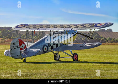 The Historic Aircraft Collection's unique 1931 Hawker Fury I K5674/G-CBZP seen parked in the morning sunshine at - Stock Photo