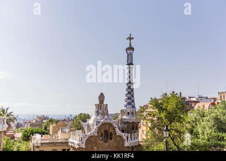 View of Park Guell in Barcelona, Spain - Stock Photo