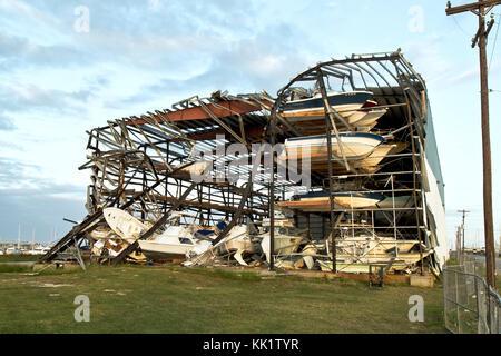 Hurricane  'Harvey'  2017  storm damage, Cove Harbor Marina & Dry Stack, Rockport, TX - Stock Photo