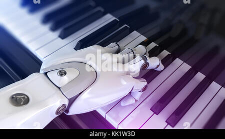 Robot Plays the Piano. 3d Illustration - Stock Photo