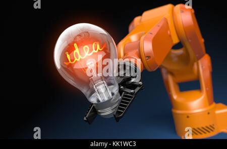 Industrial robot arm holding light bulb. 3D illustration - Stock Photo
