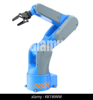 Industrial robot arm isolated on white. 3D illustration - Stock Photo