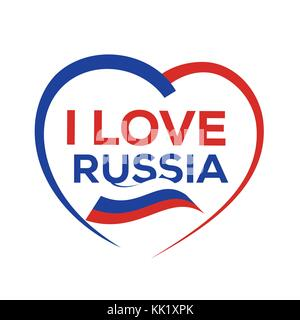 I love russia with outline of heart and russian flag, icon design, isolated on white background. - Stock Photo