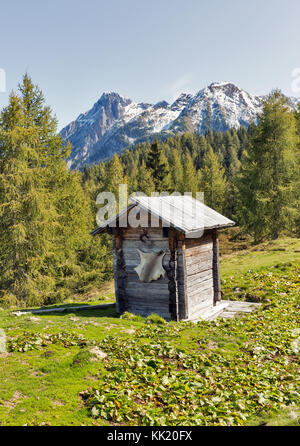 Old wooden shepherd toilet on a highland pasture with Alpine mountain landscape in Western Carinthia, Austria. - Stock Photo