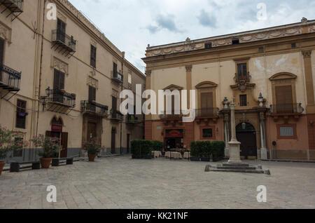 Palermo, Sicily, Italy - September 7, 2017:  Palazzo Gangi on the Croce del Vespri square. - Stock Photo