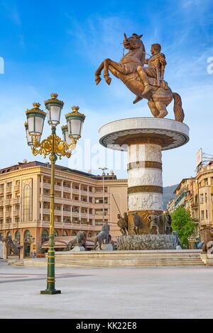 The statue of Alexander the Great, Macedonia Square, Skopje, Republic of Macedonia - Stock Photo