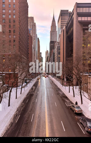 New York, New York, USA - January 24, 2016: The view looking west down 42nd street in Manhattan from Tudor City - Stock Photo