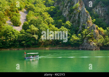 Speed motor boat on the lake, Matka Canyon, Macedonia - Stock Photo