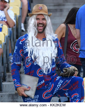 Los Angeles, California, USA. 14th Oct, 2017. Chicago Cubs fan prior to a National League Championship Series baseball - Stock Photo