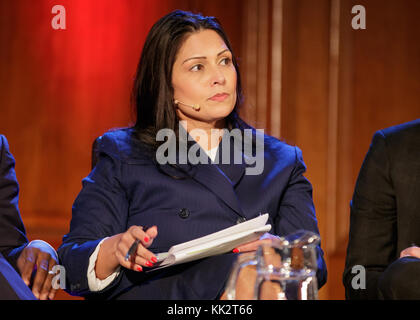 London, UK. 27th Nov, 2017. Priti Patel MP during a panel discussion for The Spectator Magazine at the Emmanuel - Stock Photo
