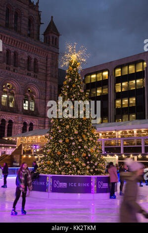 Natural History Museum, London, UK. 28th Nov, 2017. Skaters brave a cold evening to enjoy festive outdoor ice skating - Stock Photo
