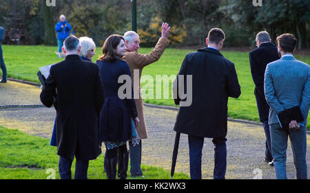 Stoke On Trent, UK. 28th Nov, 2017. Prince Charles and the Duchess of Cornwall left stoke-on-Trent after a day of - Stock Photo