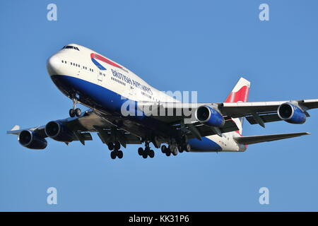 British Airways Boeing 747 G-BNLN landing at London Heathrow Airport, UK - Stock Photo