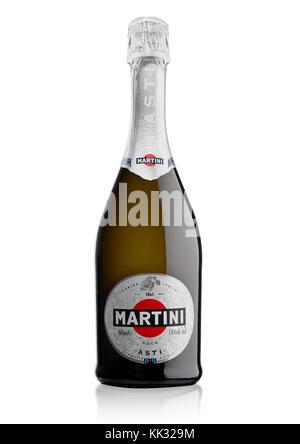 LONDON, UK - November 24, 2017: Bottle of sparkling wine Martini Asti on white background. Produced in Italy - Stock Photo