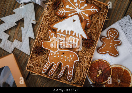 Christmas cookie in a box, top view. Home-made pastries of various shapes - Stock Photo
