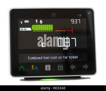 Chameleon Technology smart meter display showing energy usage within a domestic house, England, UK - Stock Photo