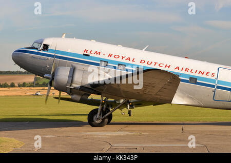 Douglas C-47A Skytrain, KLM Livery, Duxford, UK. The C-47 was the military designation for the DC-3 Dakota. - Stock Photo