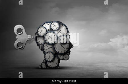 Time to plan and take action business concept as a group of clocks shaped as a human head with a winding key with - Stock Photo