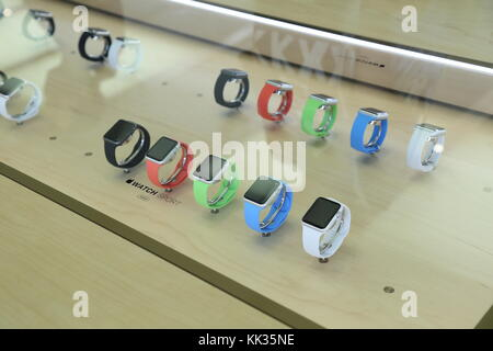 Shanghai,China - july 10 2015: Lujiazui Apple store:Apple watch in the display cabinet - Stock Photo