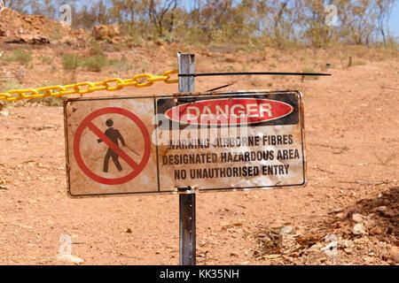Warning sign for airborne fibres, Pilbara, Western Australia - Stock Photo