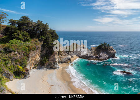 Pacific Ocean beach and falls in Califirnia - Stock Photo
