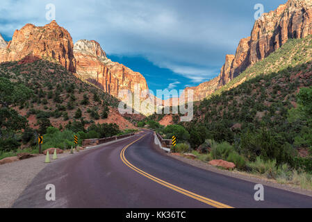 Mountains road in Zion National Park, Utah, USA - Stock Photo