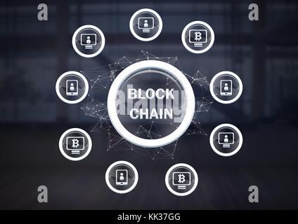 Digital composite of Blockchain icons network - Stock Photo