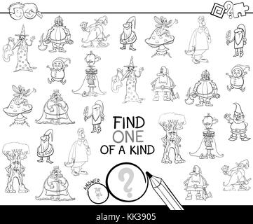 Black and White Cartoon Illustration of Find One of a Kind Educational Activity Game for Children with Fantasy Characters - Stock Photo