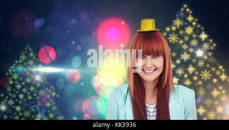 Digital composite of Woman wearing party hat and Snowflake New Year Party lights colorful pattern shapes - Stock Photo