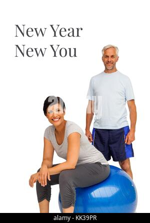 Digital composite of New Year and new You text with fitness couple - Stock Photo
