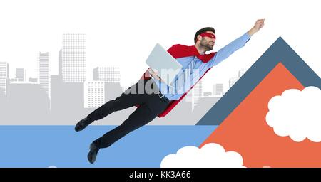 Digital composite of Flying superhero businessman with minimal shapes in city - Stock Photo