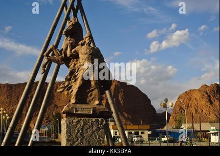 Statue of Manas, the epic hero of the Kyrgyz people ( Kyrgyzstan) - Stock Photo