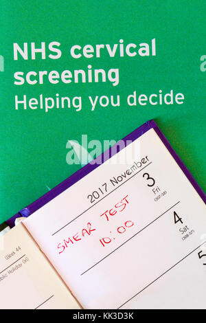 appointment in diary for smear test with NHS cervical screening helping you decide leaflet - Stock Photo