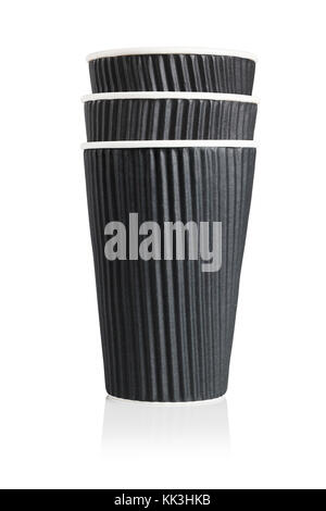 Stack of Three Black Disposable Paper Cups on White Background - Stock Photo