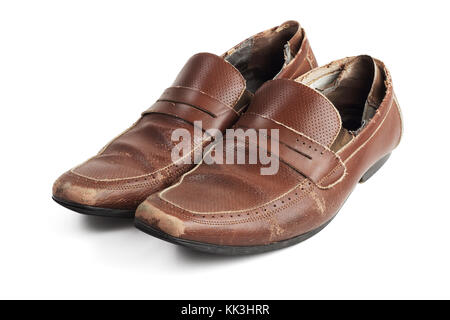 Old Pair of Used and Worn Brown Leather Shoes on White Background - Stock Photo