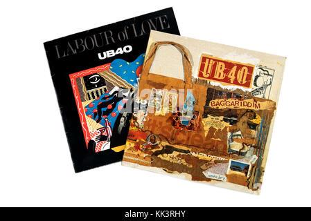 UB 40, Labour of Love, 1983, Baggariddim, 1985, Album covers. - Stock Photo