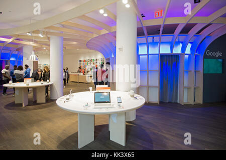 A wide view of the inside of the Google pop up store on Fifth Avenue in lower Manhattan, new York City - Stock Photo