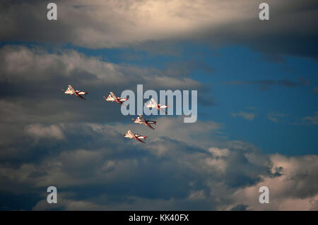 Croatian AF aerobatic team Krila Oluje (Wings of Storm) in a formation over Šibenik Croatia - Stock Photo