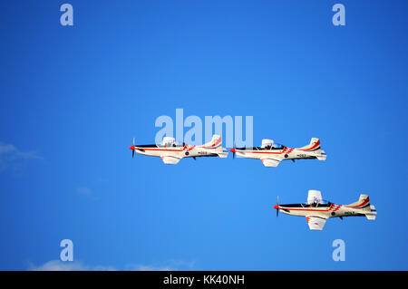 Croatian AF aerobatics team Krila Oluje (Wings of Storm) in a formation over Šibenik, Croatia - Stock Photo