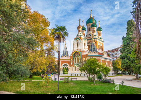 Russian orthodox church in the autumn, Nice, France - Stock Photo