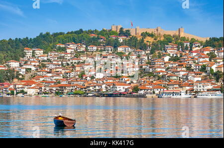 Ohrid Lake and old town city, Samuel's Fortress at the top, Macedonia - Stock Photo