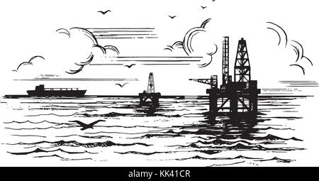Oil platforms on the background of the sea - Stock Photo