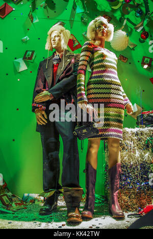 25th November 2006. A christmas fashion display in a clothing store in manchester. - Stock Photo