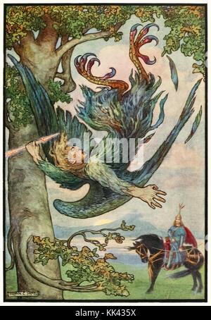 'Nightingale the Robber fell from his nest in the old oaks' from 'The Russian Story Book' by Richard Wilson (1878-1916) illustration by Frank C. Papé (1878-1972). See more information below.