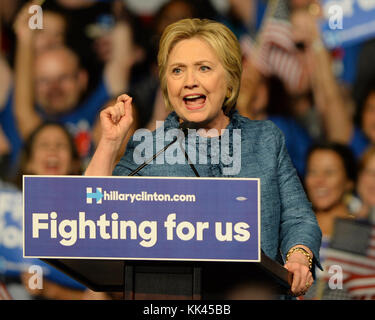 WEST PALM BEACH, FL - MARCH 15: Democratic presidential candidate former Secretary of State Hillary Clinton speaks - Stock Photo